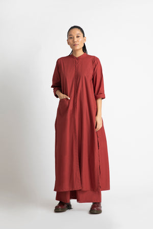 Back Gather Jacket Co ord- Madder Red