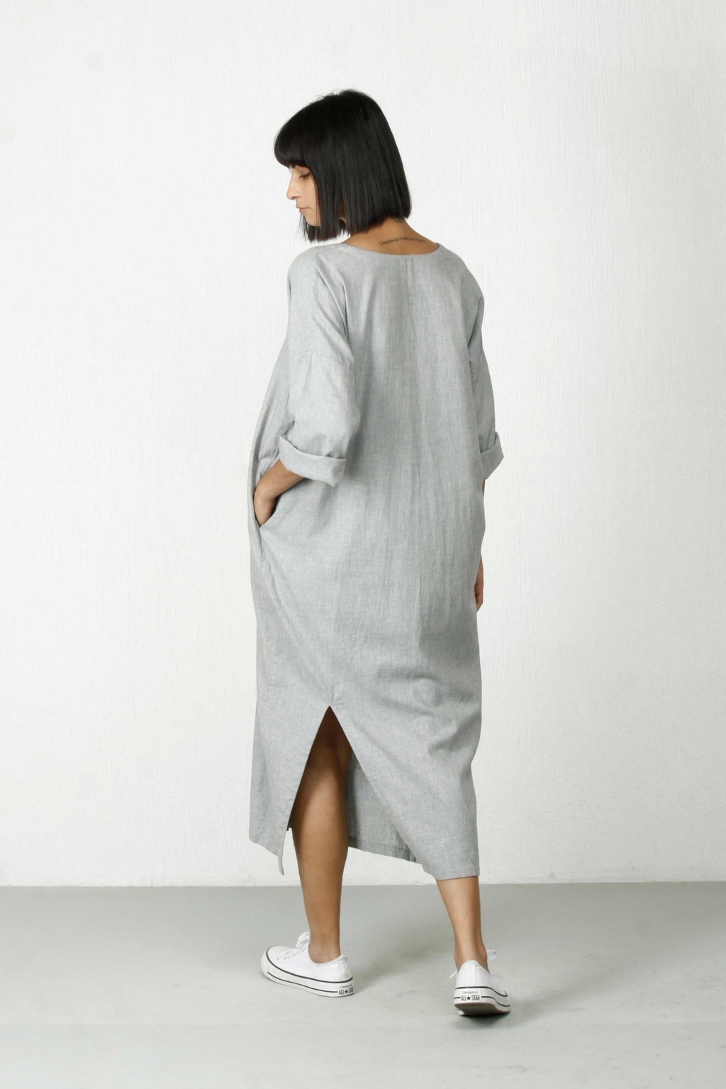 Back-Slit Dress-Melange Grey