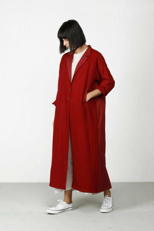 Back Pleat Trench-Cherry