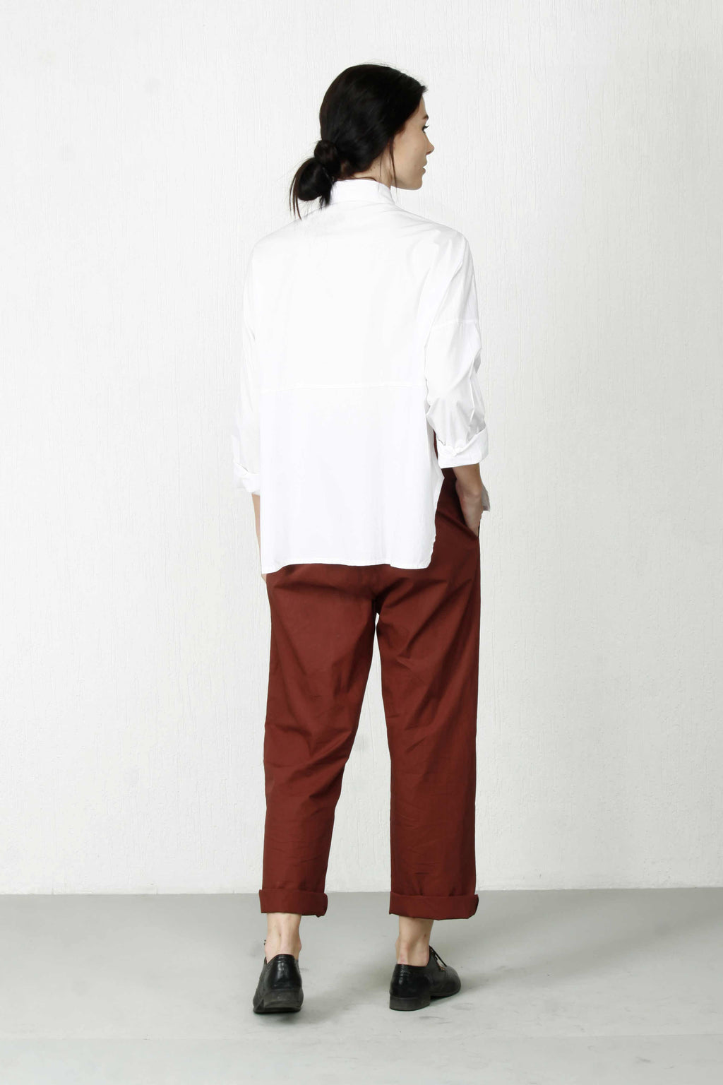 Boxy Shirt With Dotted Panel - White