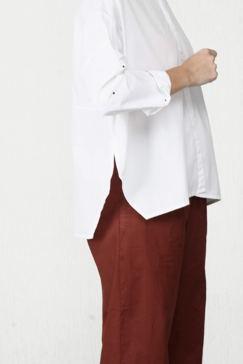 Boxy Shirt With Dotted Sleeve - White