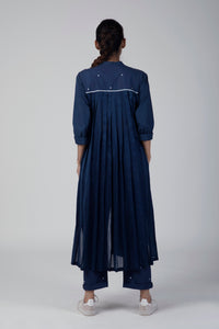 Blue Back Pleat Jacket Co ord