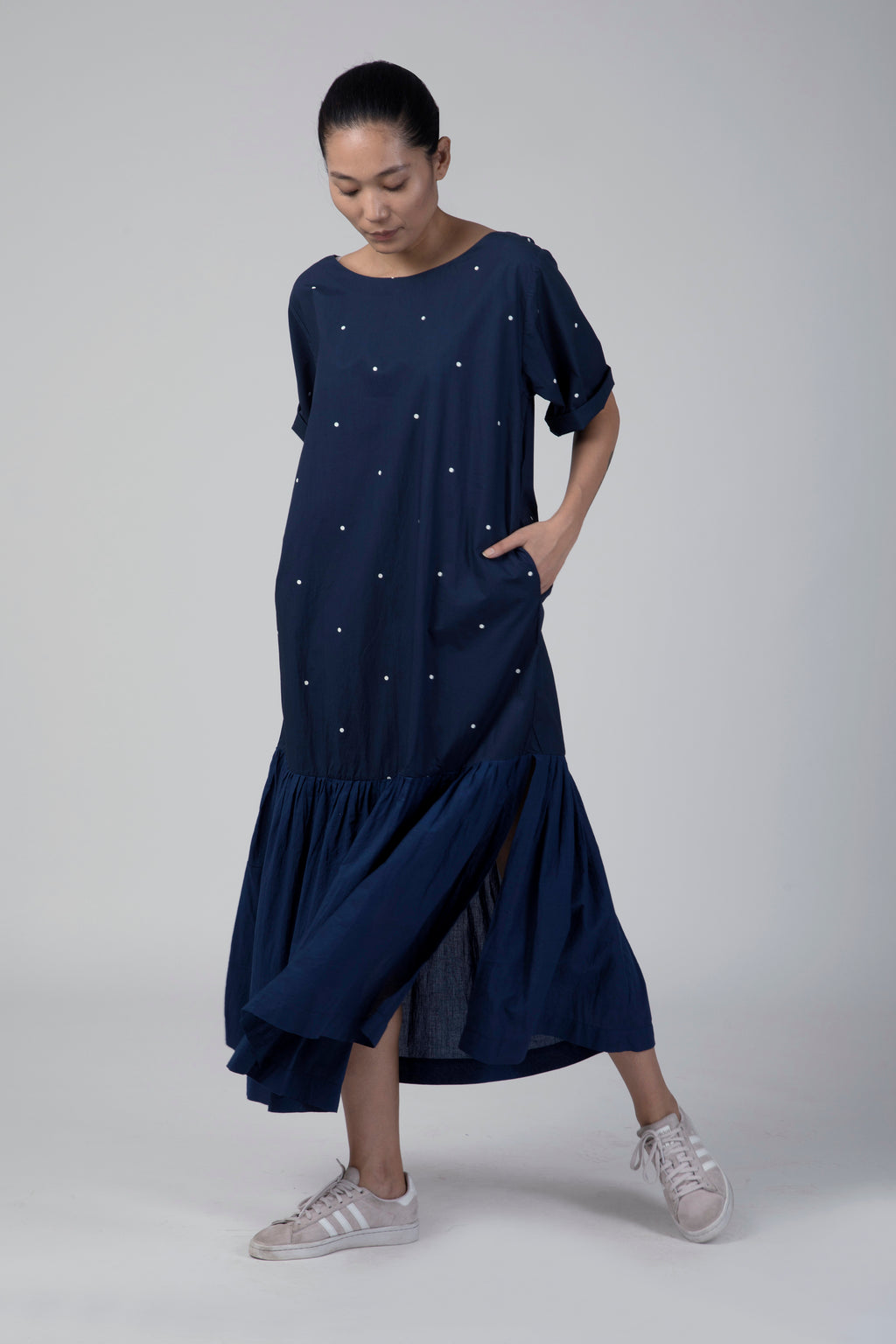 Blue Polka Bottom Frill Dress