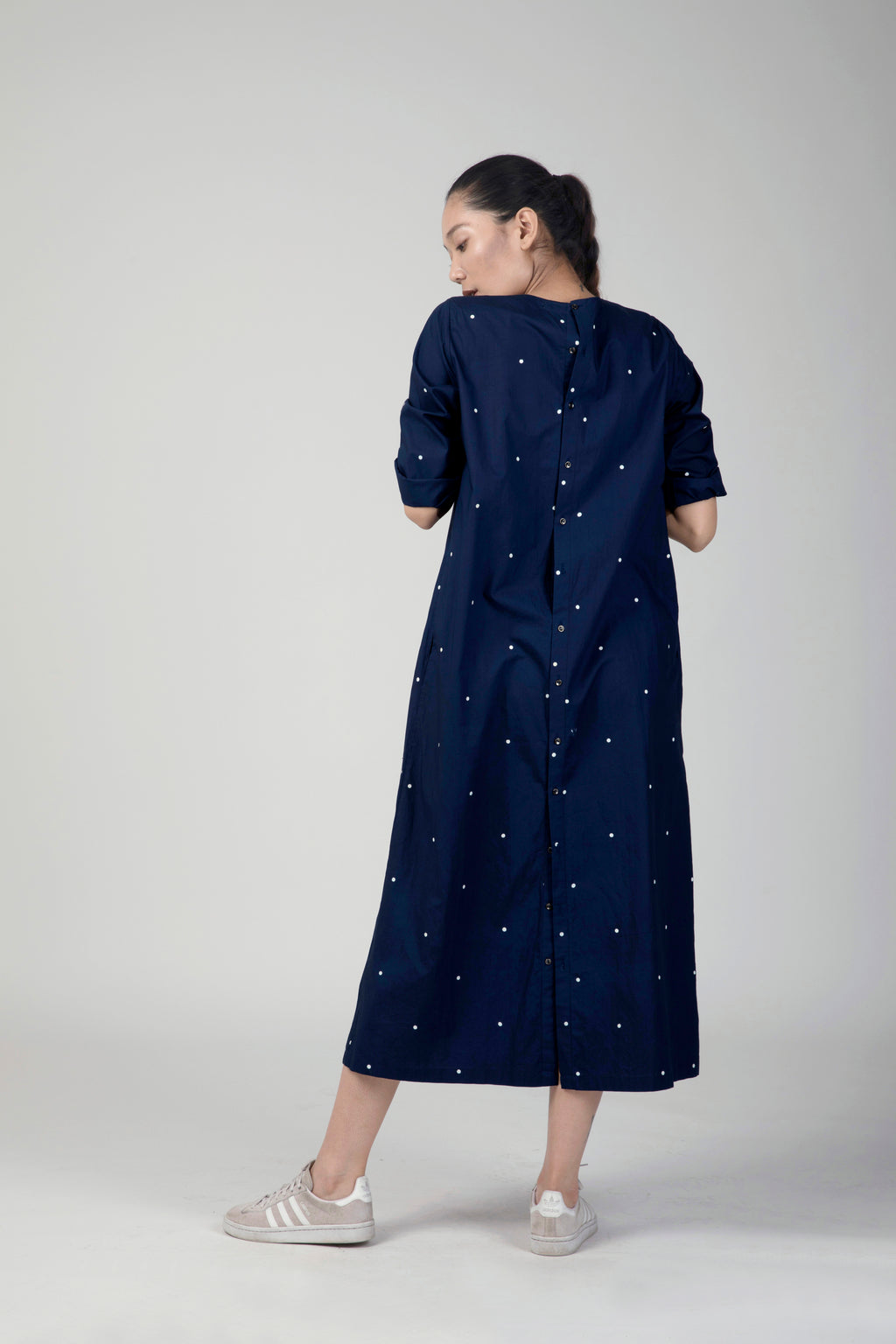 Blue Polka Pintuck Dress