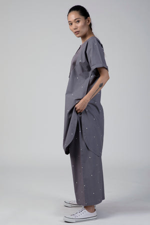 Grey Dotted U-Yoke Kurta