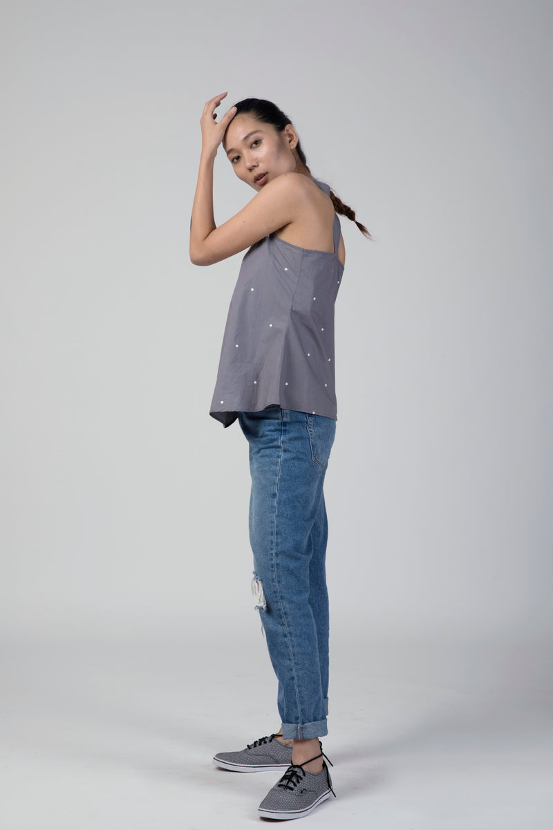 Grey Polka Racer Back Top