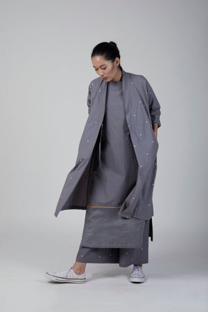 Grey Wrap Collar Jacket