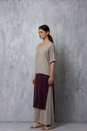 V Neck Yoke Kurta- Grey