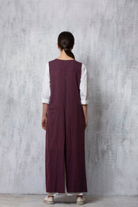 Reversible Sleeveless Jacket- Plum-Grey
