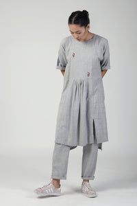 Melange  Front Yoke Gathered Dress