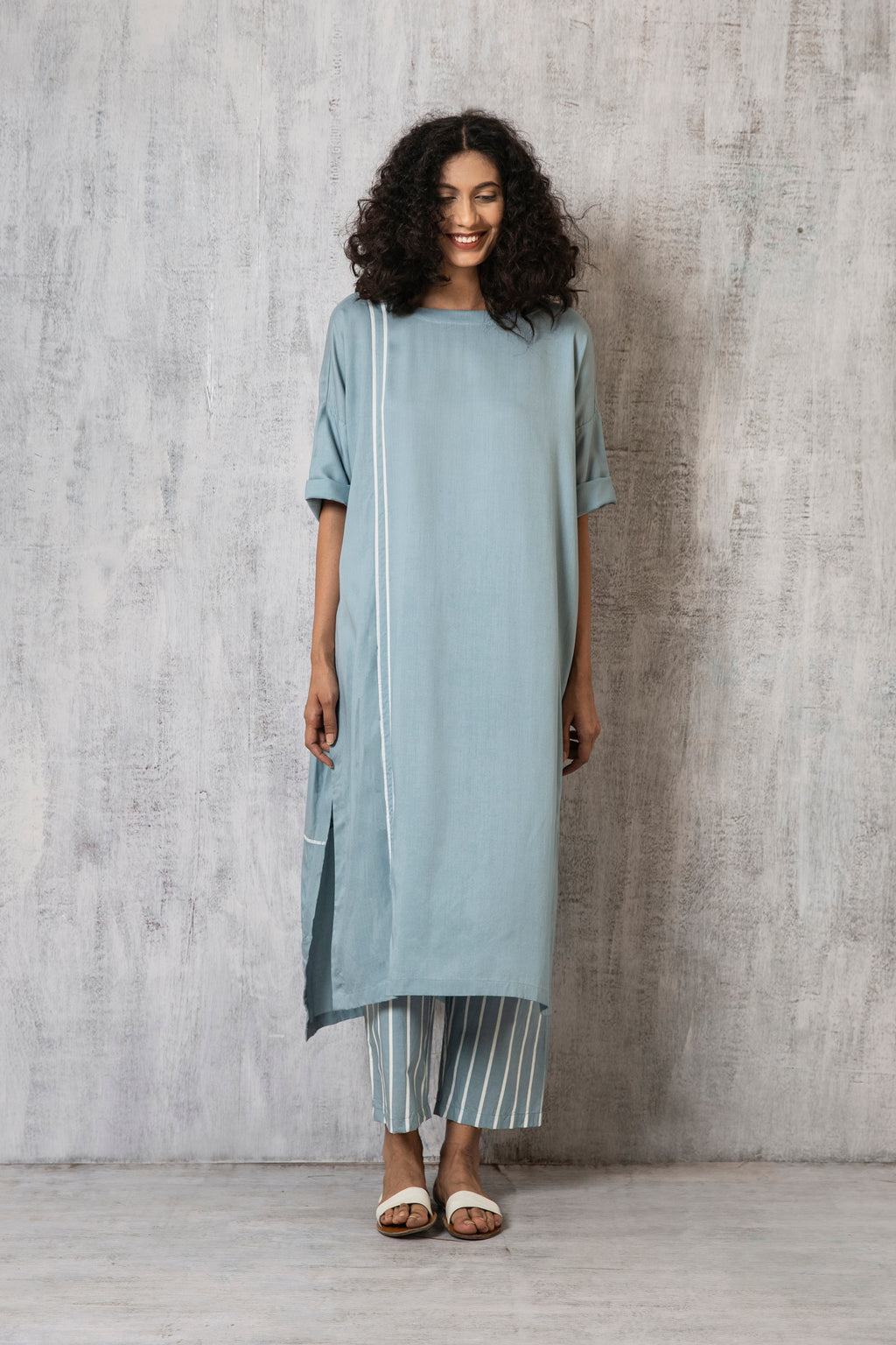 Drop Shoulder Kurta Co-ord- Cloudless blue Stripes