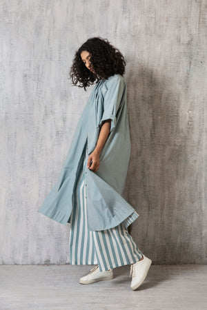 Gather Neck Shirt Co-ord- Cloudless blue