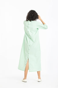 Pintuck dress-Mint polka