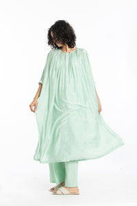 Gather neck dress co-ord mint polka