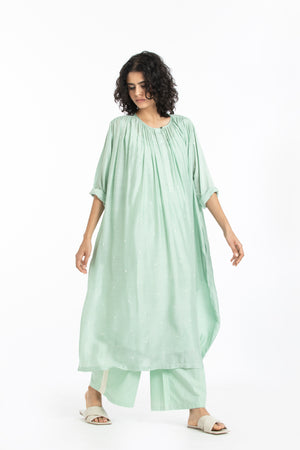 Gather neck dress co-ord mint polka set (Set of 3)