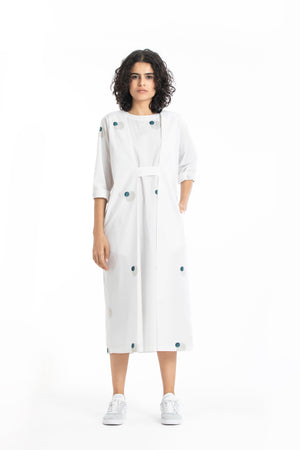 Knife pleat dress-White