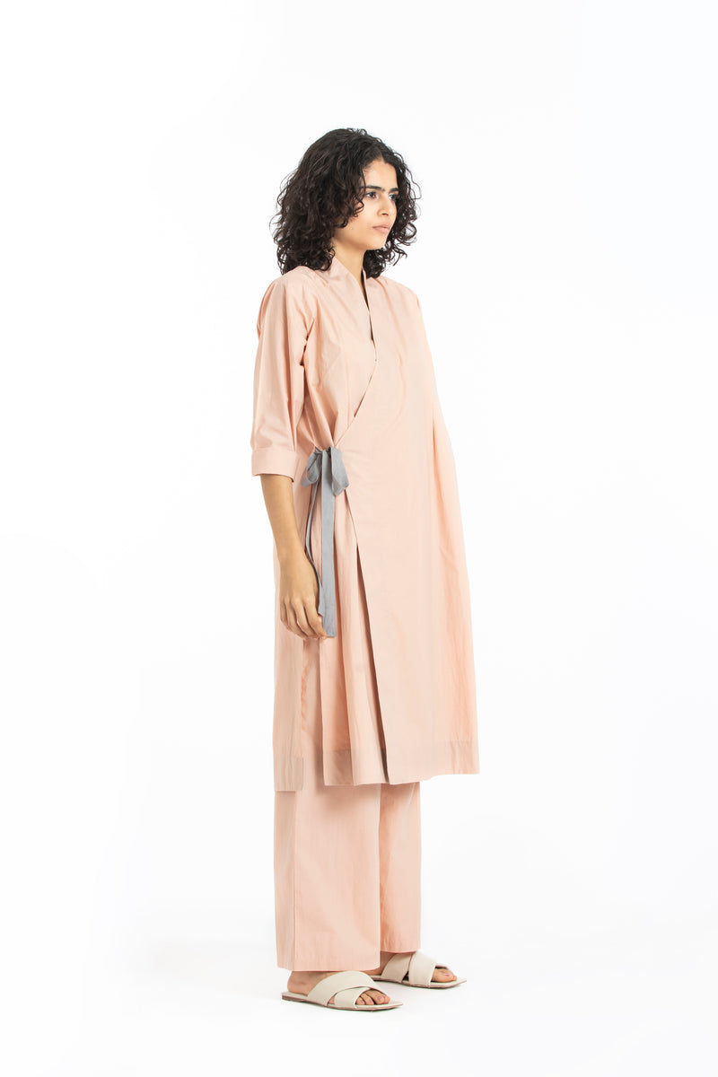 Pintuck side knot jacket  co-ord pale pink