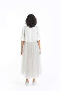 Side gather over-dress-Ash grey