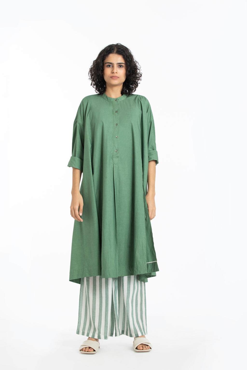 Panel slit shirt-Fern