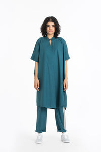 Long kaftan-Teal/ Ash grey