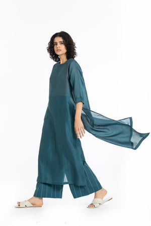 Round neck tunic-Teal