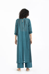 Round neck tunic co-ord teal