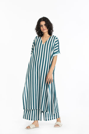 V neck kaftan co-ord teal stripe
