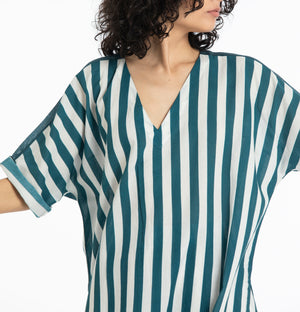 V neck kaftan-Teal stripe