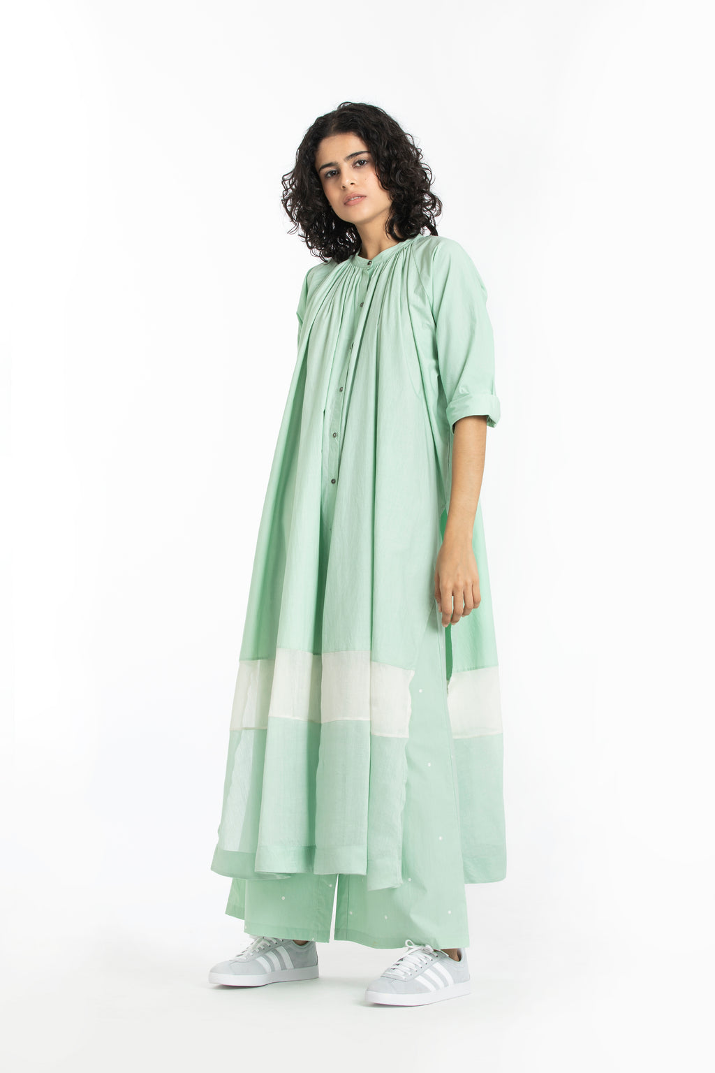 Panel gather neck shirt co-ord  mint