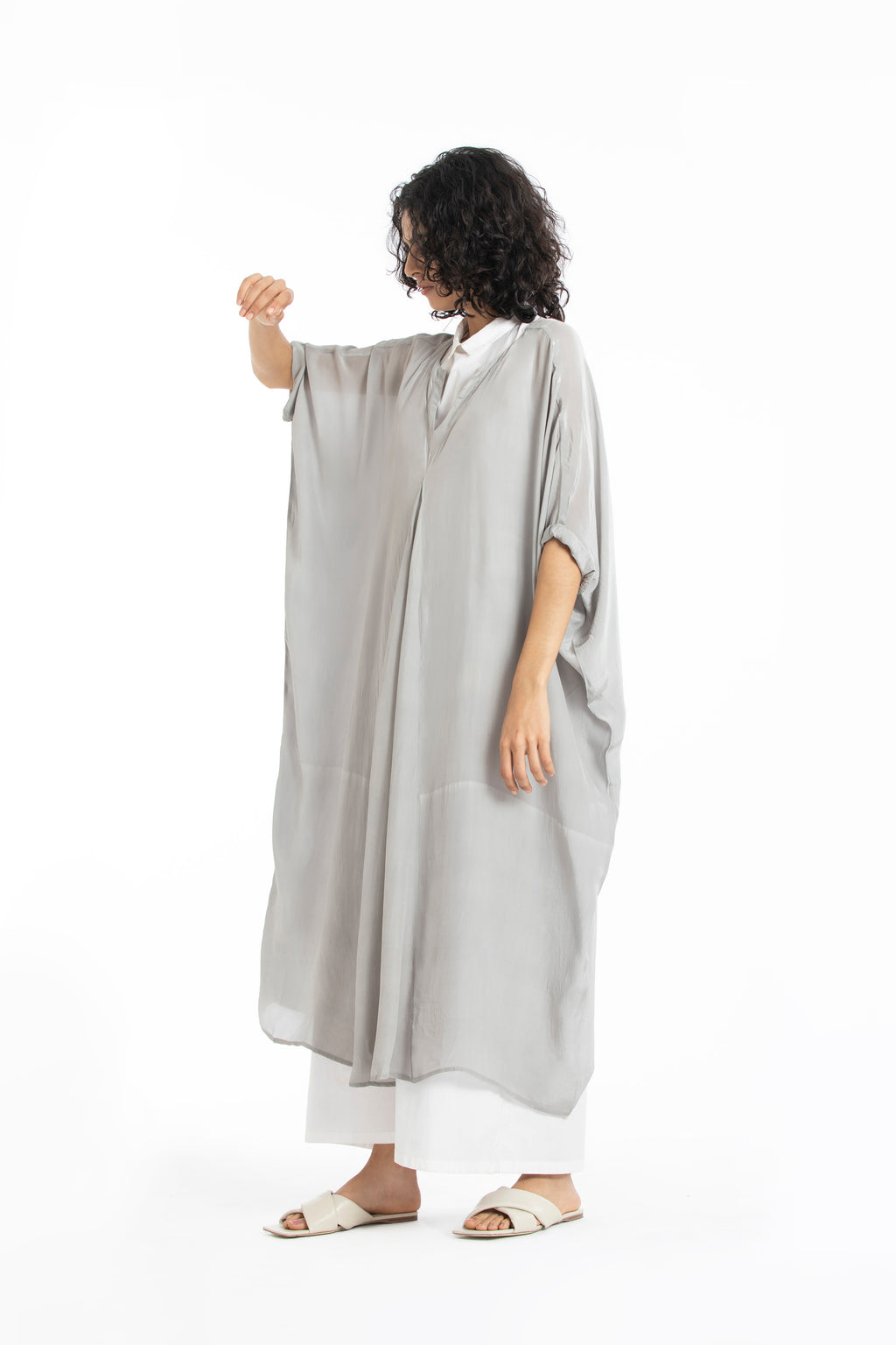 V neck Kaftan co-ord grey
