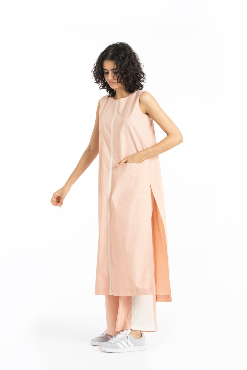 Round Neck Tunic-Pale pink