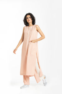 Round neck tunic co-ord pale pink