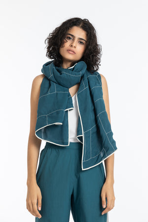 Embroidered Scarf-Teal