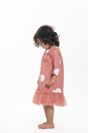 Bottom Frill Dress- Dusty Rose Polka