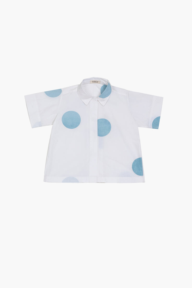 Short Top- Powder Blue Polka