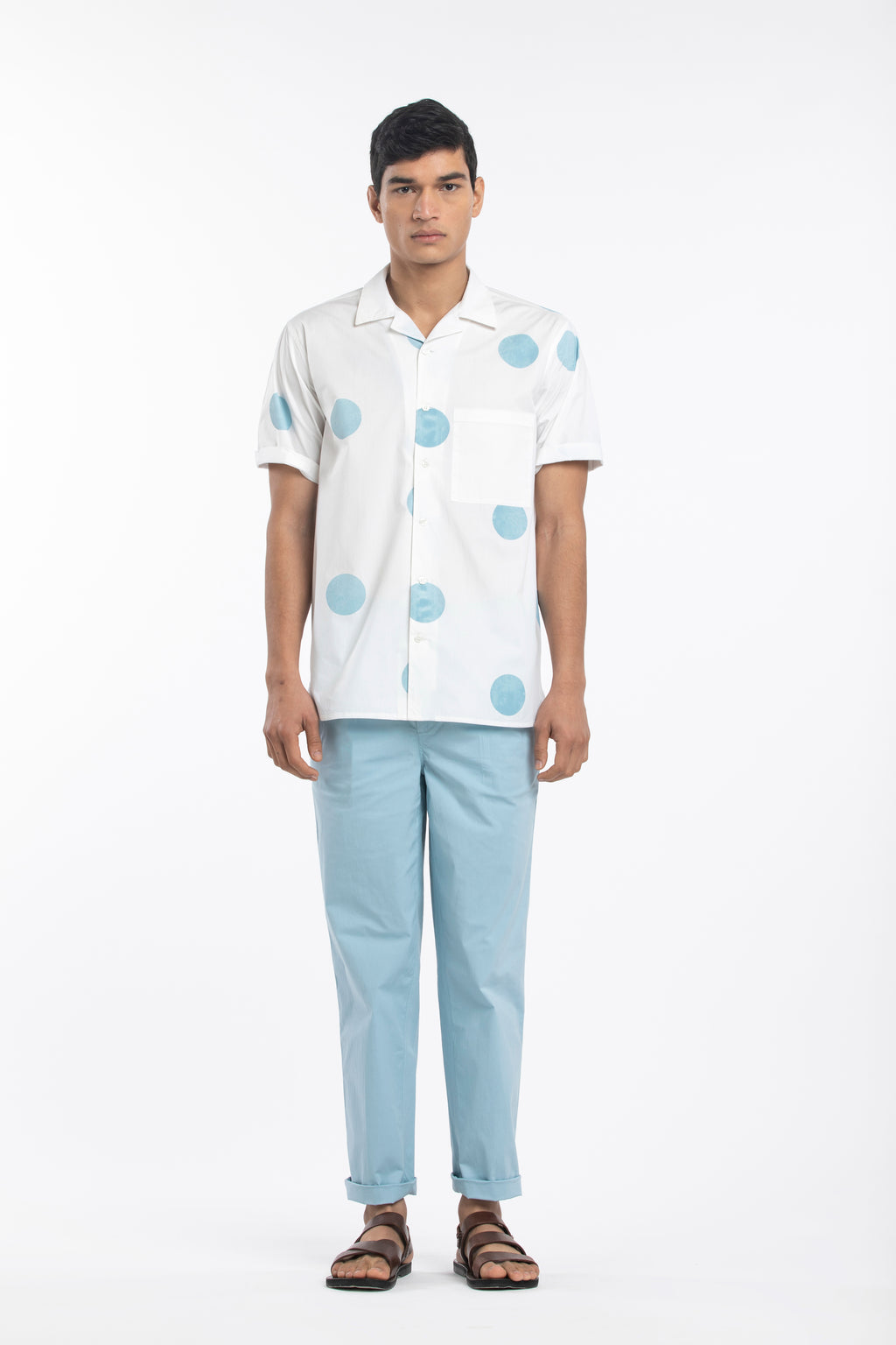 Camp Collar Shirt Co-ord- Powder Blue Polka