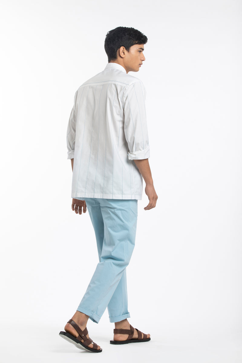 Linear Embroidered Shirt- White