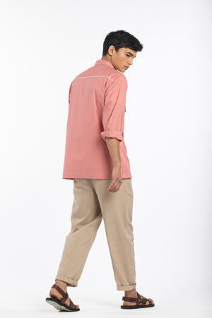 Patch Pocket Shirt- Dusty Rose