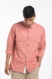 Patch Pocket Shirt Co-ord- Dusty Rose