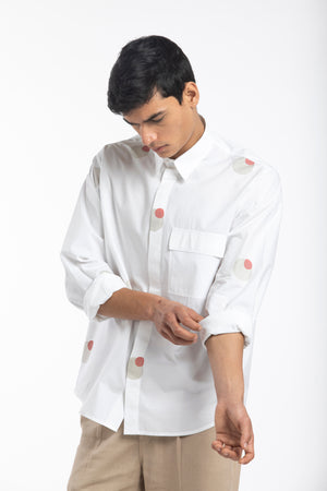 Flap Pocket Shirt Co-ord- White Circle