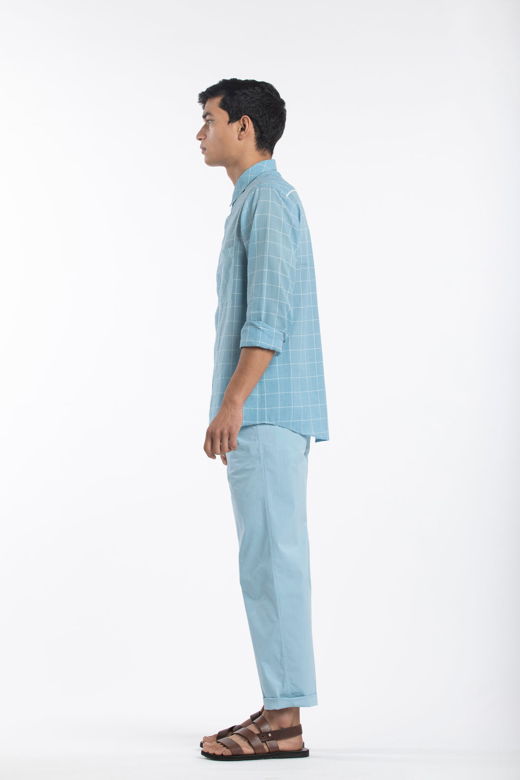 Basic Shirt Co-ord- Sky Check