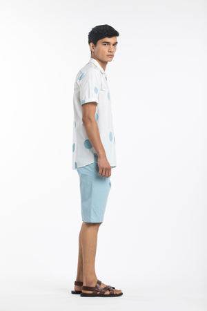 Camp Collar Bermuda Co-ord- Powder Blue Polka