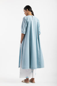 Panel Slit Shirt Co-ord- Powder Blue
