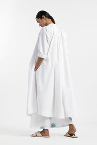 Gather Neck Shirt Co-ord- White