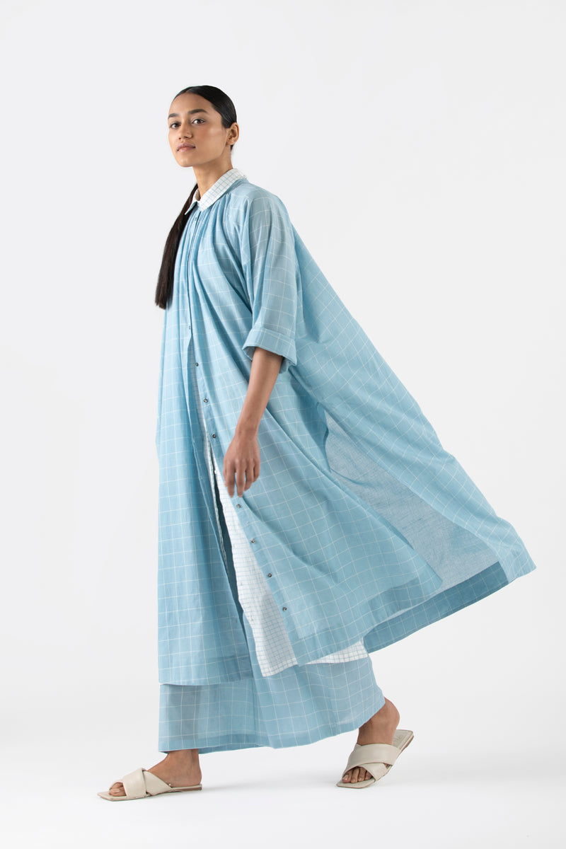 Gather Neck Shirt Co-ord- Powder Blue (Set of 3)