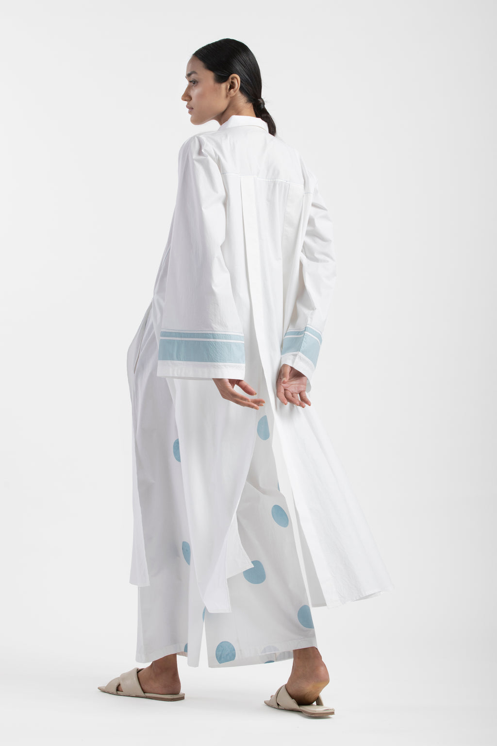 Wide Sleeve Shirt Co-ord- White
