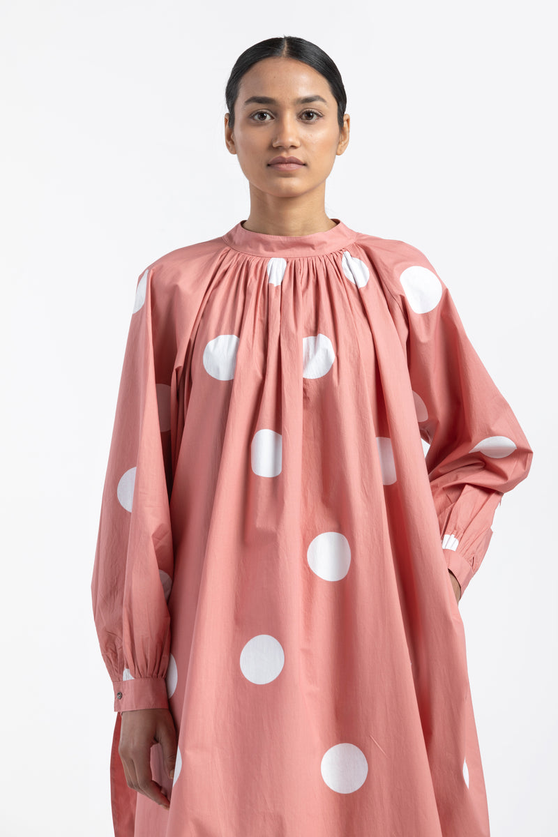 U Hem Gather Neck Shirt- Polka