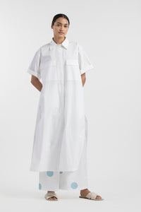Bottom Pleat Shirt Co-ord- White