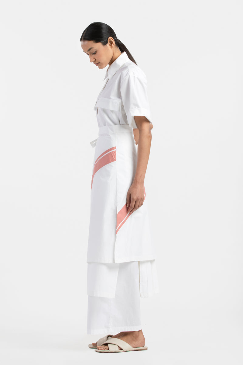 Bottom Pleat Shirt Co-ord- White (Set of 3)