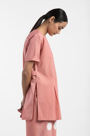 Back Pleat Top- Dusty Rose